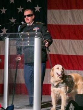 Sgt. David R. Denhardt (with service dog, Tank)
